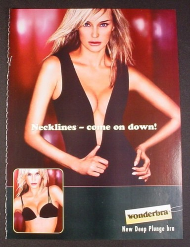 Magazine Ad for Wonderbra New Deep Plunge Bra, Model with Cleavage, 2005