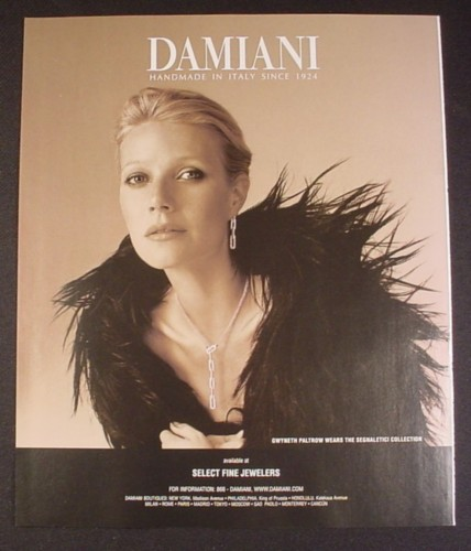 Magazine Ad for Damiani Segnaletici Jewelry Collection, Gwyneth Paltrow, Celebrity, 2008