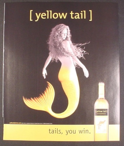 Magazine Ad for Yellow tail Chardonnay Wine, Mermaid with Yellow Tail, 2008