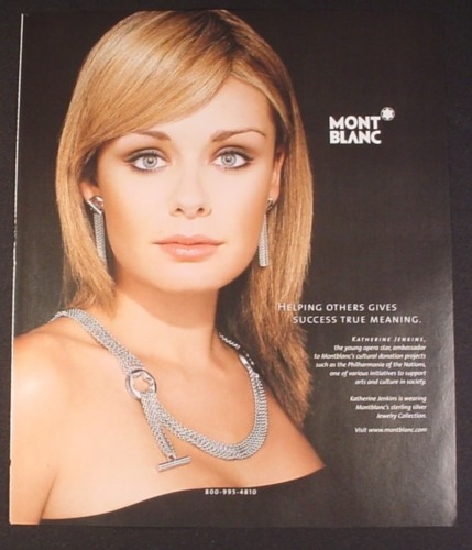 Magazine Ad for Mont Blanc Sterling Silver Jewelry, Katherine Jenkins, Opera Star, Celebrity