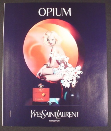 Magazine Ad for Opium Perfume, Yves Saint Laurent, Nude Woman Behind Blossoms, 2008