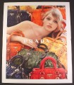 Magazine Ad for Prada Purses & Bags, Model Surrounded by Bags, Fashion, 2008