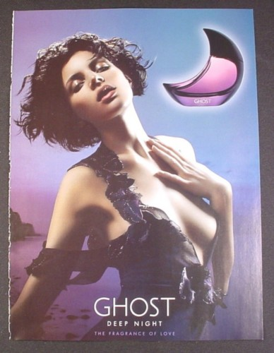 Magazine Ad for Ghost Perfume, Fragrance, Sexy Model, Deep Night, 2008