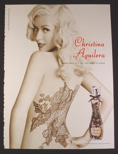 Magazine Ad for Christina Aguilera Perfume, Nude with Lacy Tattoo on Back, Celebrity, 2008
