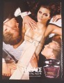 Magazine Ad for Versace Crystal Noir Fragrance Perfume, Sexy Model with 2 Men, 2004