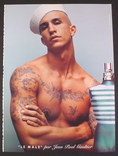 Magazine Ad for Le Male Fragrance, Sexy Male Model In Sailor Hat & Tattoos, Beefcake, 2004