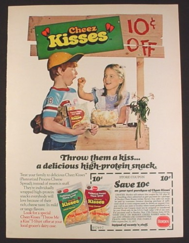 Magazine Ad for Borden Cheez Kisses Snacks, Kids With A Cheez Kisses Booth, 1977