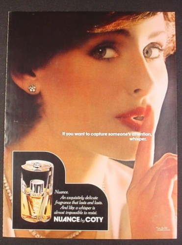Magazine Ad for Nuance by Coty Fragrance Perfume, Model with Finger to Lips, 1977