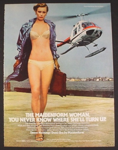 Magazine Ad for Maidenform Demi-Bra, Woman & Helicopter, 1980