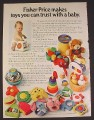 Magazine Ad for Fisher Price Baby Toys, 22 Different Toys, 1980