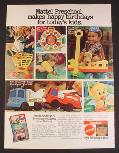 Magazine Ad for Mattel Preschool Toys,6 Different Toys, See N Say, 1980