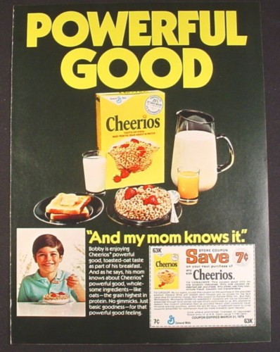 Magazine Ad for Cheerios Cereal, Powerful Good And My Mom Knows It, 1978
