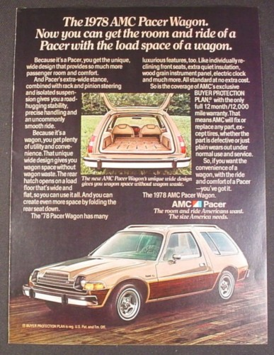 Magazine Ad for AMC Pacer Wagon Car, Side and Rear Views, 1978