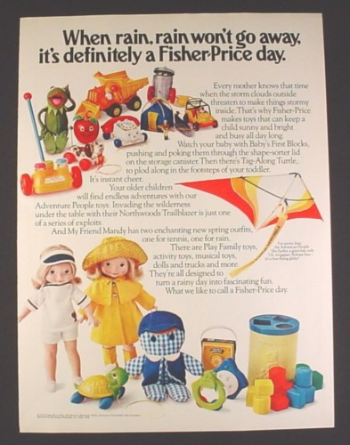 Magazine Ad for Fisher Price 16 Toys, Kermit, Adventure People, My Friend Mandy Doll, 1978
