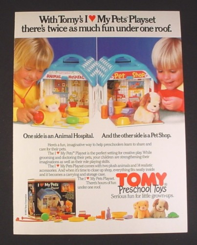 Magazine Ad for Tomy I Love My Pets Playsets, Toys, Pet Shop, Hospital, 1985