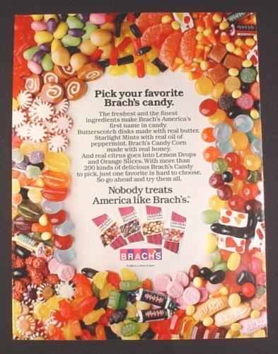 Magazine Ad for Brach's Candy, Huge Variety of Different Candies, 1985