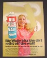Magazine Ad for Big Wally Wall Washer Spray On Cleaner Can, 1972