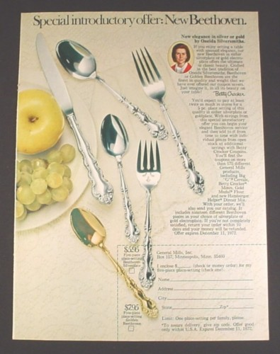 Magazine Ad for Betty Crocker Beethoven Silverware, 1972