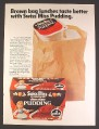 Magazine Ad for Swiss Miss Chocolate Pudding, 4 Pack, Brown Bag Lunches, 1983
