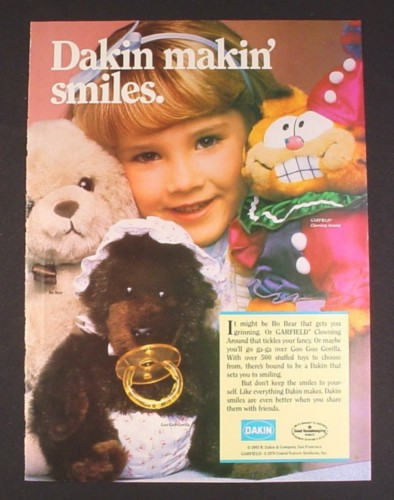 Magazine Ad for Dakin Plush Toys, Garfield, Goo Goo Gorilla, Bo Bear, 1985