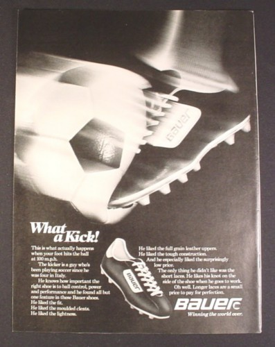Magazine Ad for Bauer Soccer Shoes Cleats, 1980