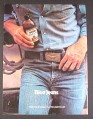 Magazine Ad for Labatt's Beer, Stubby Bottle, Cowboy in Blue Jeans, 1980