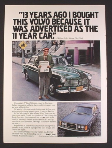 Magazine Ad for 1966 Volvo, Advertised as The 11 Year Car, 1979