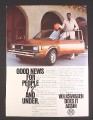Magazine Ad for Volkswagen Rabbit, For Tall People, Wilt Chamberlain, NBA Celebrity, 1979