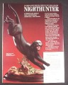 Magazine Ad for Nighthunter Black Porcelain Leopard Statue, Franklin Mint, 1989