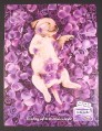 Magazine Ad for Cottonelle Toilet Paper, Cute Puppy In Purple Rose Petals, 2008