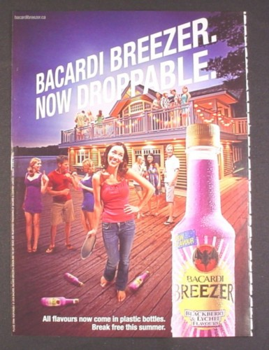 Magazine Ad for Bacardi Breezer In Plastic Bottles, Now Droppable, 2009