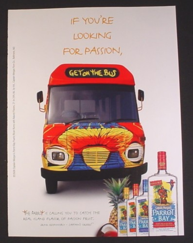 Magazine Ad for Captain Morgan's Parrot Bay Rum, Colorful Bus, Get On The Bus, 2006