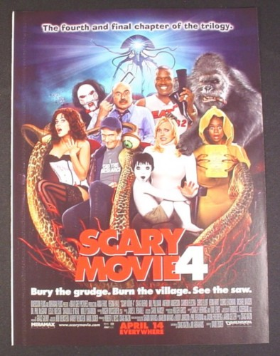 Magazine Ad for Scary Movie 4, Bury The Grudge, Burn The Village, See The Saw, 2006