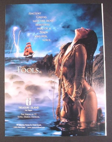 Magazine Ad for Treasure Island Las Vegas, Sexy Woman, The Sirens Of Ti, 2003