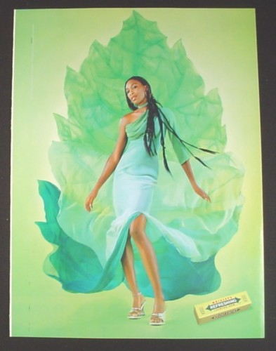 Magazine Ad for Wrigley's Gum, Woman with Mint Leaf Dress, 2002