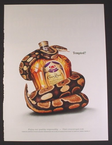 Magazine Ad for Crown Royal Whisky, Snake Wrapped Around Bottle, Tempted, 2003