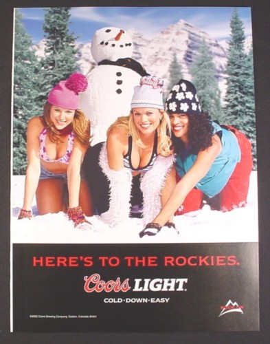 Magazine Ad for Coors Light Beer, 3 Women Kneeling in Snow with Snowman Behind One, 2003