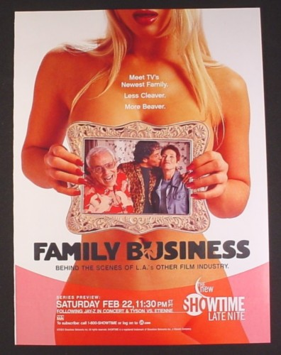 Magazine Ad for Family Business Showtime TV Show, Less Cleaver More Beaver, 2003