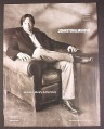 Magazine Ad for Johnston & Murphy Clothing, David Duchovny in Chair, Celebrity Endorsement