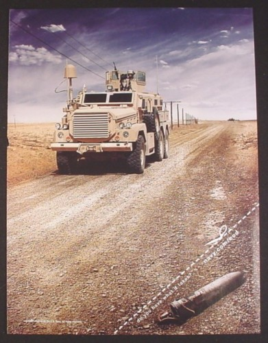 Magazine Ad for Navy Recruitment, Military Truck on Gravel Road with IED, 2008