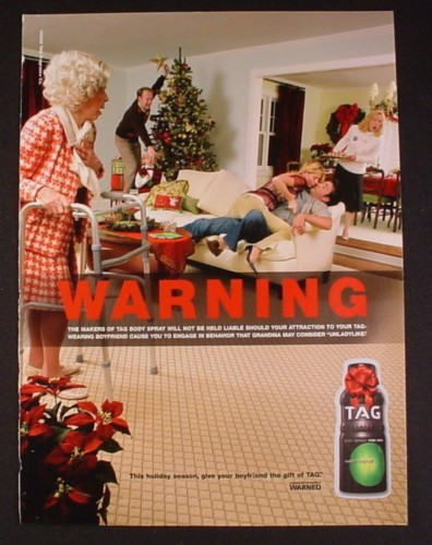 Magazine Ad for Tag Body Spray, Girl Attacking Guy In Front Of Grandma, 2005
