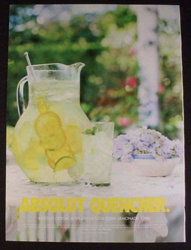 Magazine Ad for Absolut Quencher, Absolut Citron, Lemons In Pitcher Form Bottle Shape, 2004