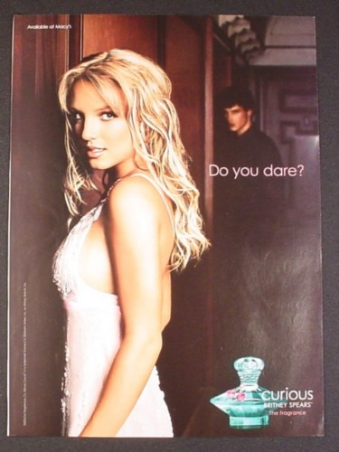 Magazine Ad for Britney Spears Curious Fragrance Perfume, Do You Dare, Celebrity, 2005