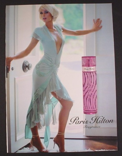 Magazine Ad for Paris Hilton Fragrance Perfume, In Doorway, Celebrity, 2005