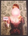 Magazine Ad for Orbit White Bubblemint Gum, Woman with Huge Bubble in Front Of Face, 2005