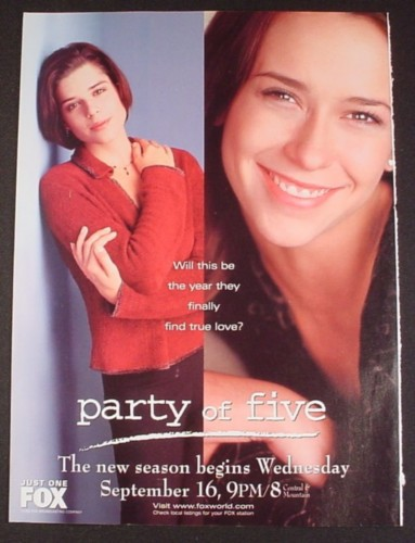 Magazine Ad for Party of Five TV Show, Jennifer Love Hewitt, Neve Campbell, 1998