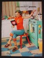 Magazine Ad for Candies Jeans, Alyssa Milano in Kitchen, 1999