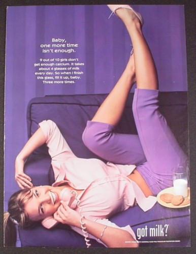 Magazine Ad for Got Milk, Young Britney Spears, Pink Phone, 1999