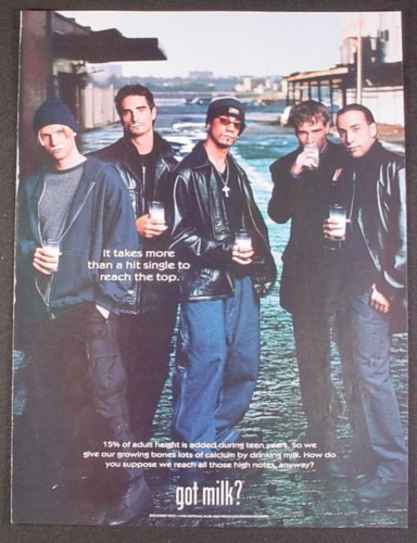 Magazine Ad for Got Milk, Backstreet Boys, 1999