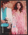 Magazine Ad for Glow Fragrance Perfume, by JLO, Guy with Flowers for Girl, 2009